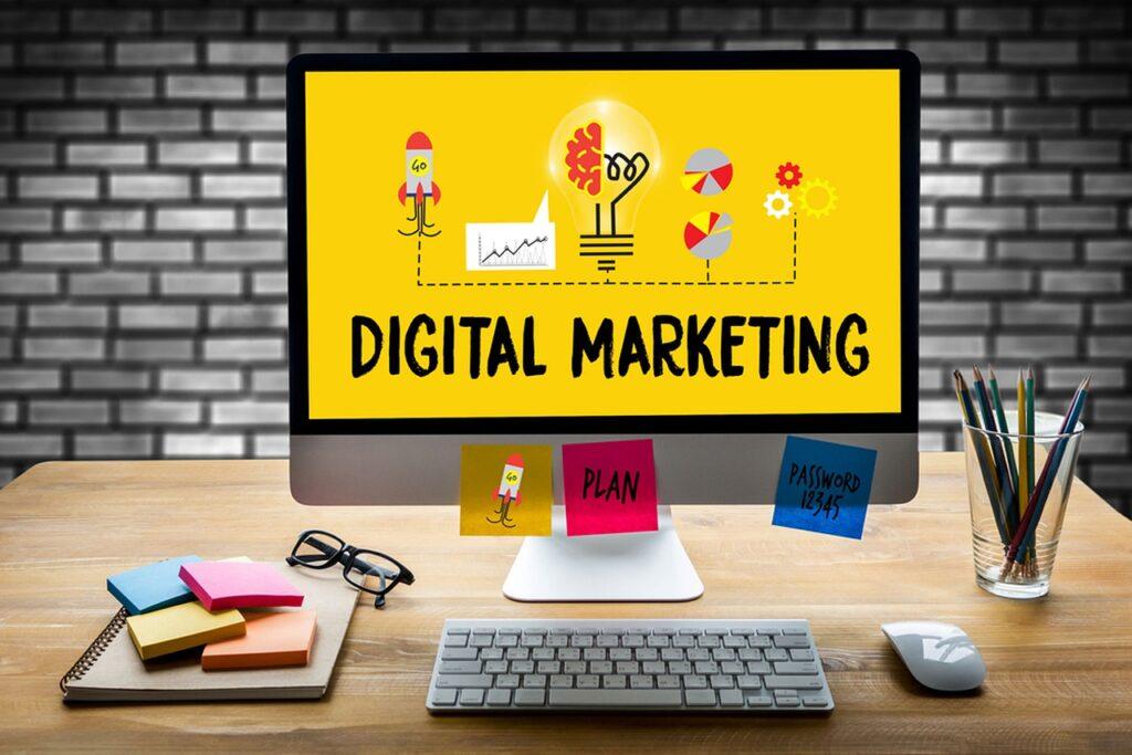 digital marketing, computer, desk